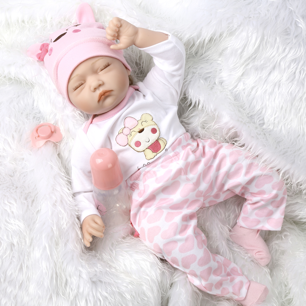 Image 2 - 55cm Realistic Reborn Baby Doll Soft Silicone Stuffed Lifelike Baby Doll Toy Ethnic Doll For Kids Birthday Christmas Gifts-in Dolls from Toys & Hobbies