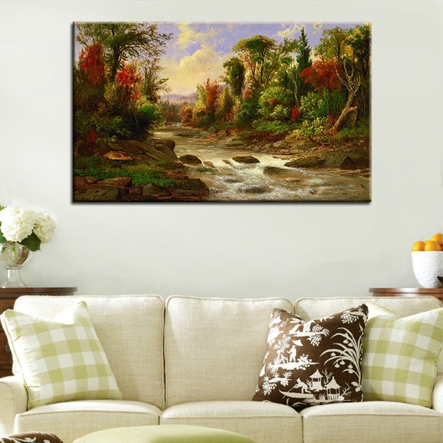 Attractive Rio Campo Pastoral Paisagem Pintura A Óleo Sobre Tela For Living Room Decor  40x65 Cm 60x99 Part 18