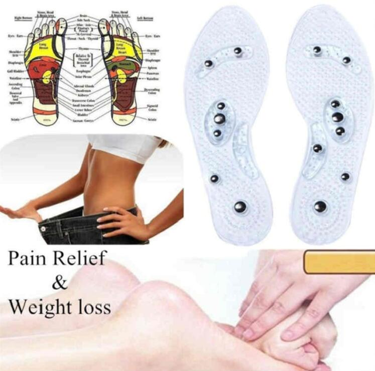 New Men and Women Magnetic Therapy Foot Insole Transparent Silicone Anti-fatigue Health Care Massage Slimming Weight Loss Insole 2
