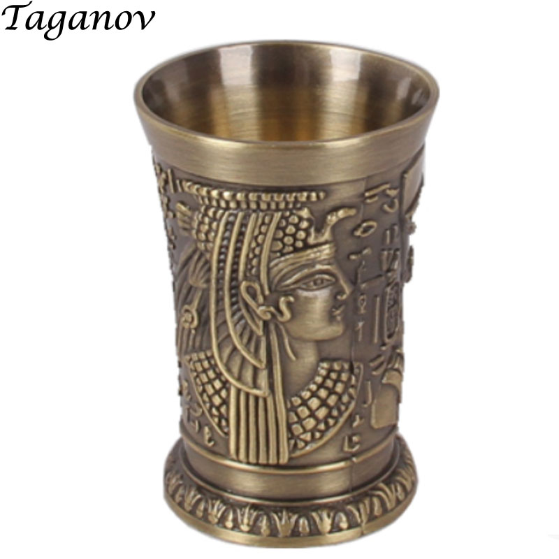 40ml Top Grade Metal Cocktail Champagne Metal Alloys Shot Glass Whisky Wine Egyptian Pharaoh Shot Cup Wine Beer Mug tumbler gift in Mugs from Home Garden