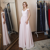 Angel married Sale Elegant bridesmaid dresses cap sleeve pink chiffon formal dress long wedding party dress estido de festa