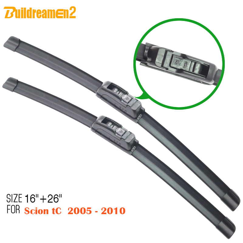 Buildreamen2 Free Shipping ! For <font><b>Scion</b></font> <font><b>tC</b></font> <font><b>2005</b></font>-<font><b>2010</b></font> Car Soft Rubber Window Wiper Blades 2Pcs Windshield Frameless High Quality !