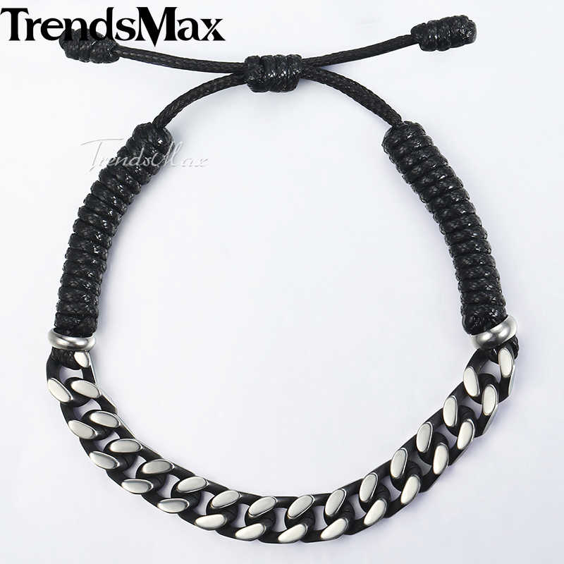 "Unique Drawstring Men's Leather Bracelets for Women Stainless Steel Curb Cuban Chain Bracelet Male Jewelry Stretch 7-11"" DLB69"