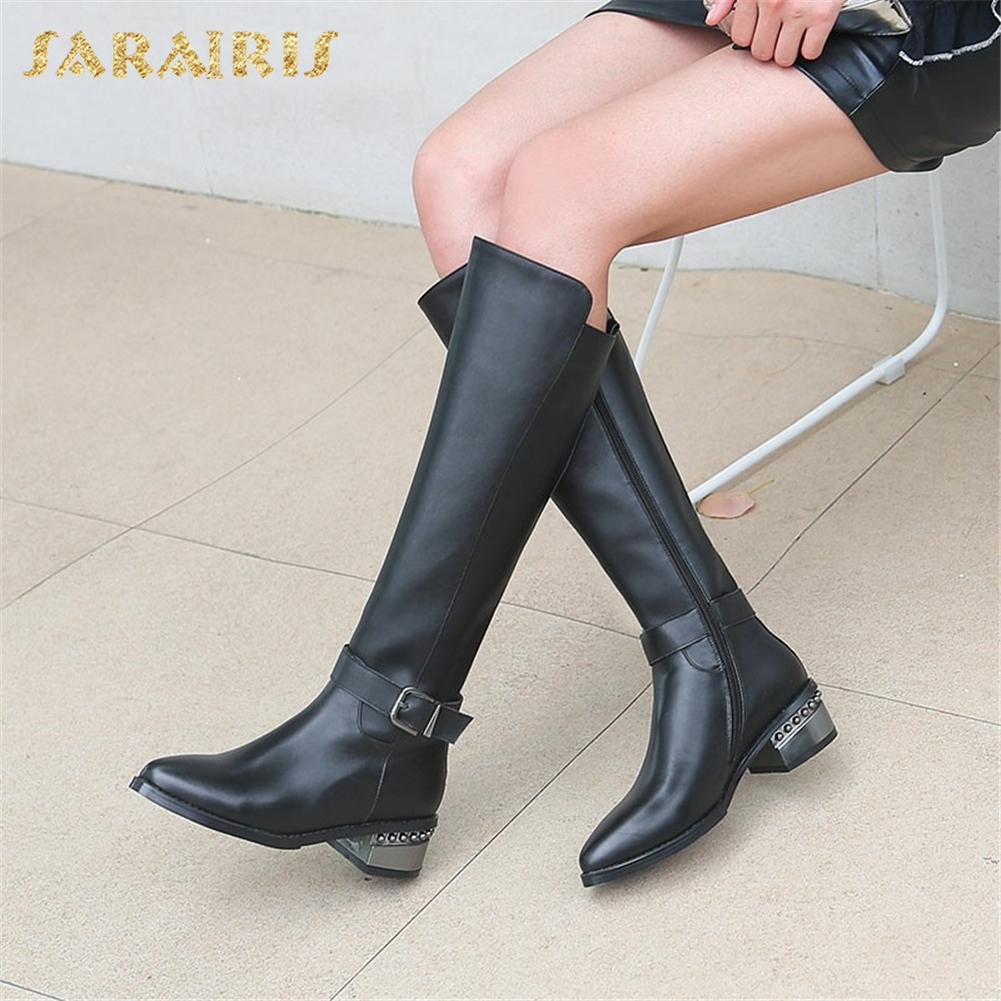 SARAIRIS Genuine Leather plus Size 33 43 Zip Up Buckle Decoration Shoes Woman Boots Chunky Heels Mid Calf Boots Woman Shoes