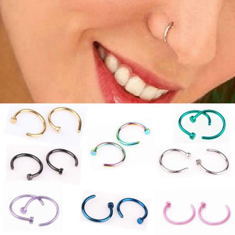 Falso Piercing para tabique nariz médica de titanio anillo de joyería de la nariz Pin cuerpo aro de Clip para las mujeres Septum Piercing Clip regalo de la joyería