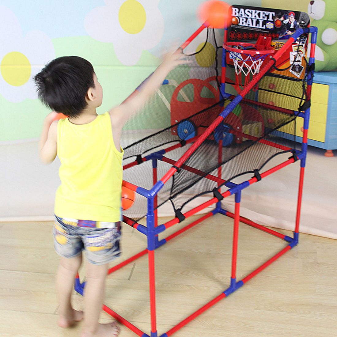 ФОТО 106-160cm Indoor Basketball Sport Game Basketball Machine Hoop Stand Height Adjustable with Inflator for Children Kids Gift