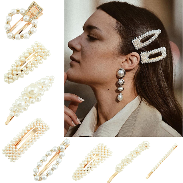 1Pcs Faux Pearls Hair Barrettes Clips Glitter Hairpins Pearl Wrapped Geometric Bobby Pin Headdress  For Women Ladies Girls 923