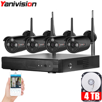 YANIVISION Plug Play 4CH Wireless NVR Kit P2P 720P HD Outdoor IP Video Security CCTV Camera