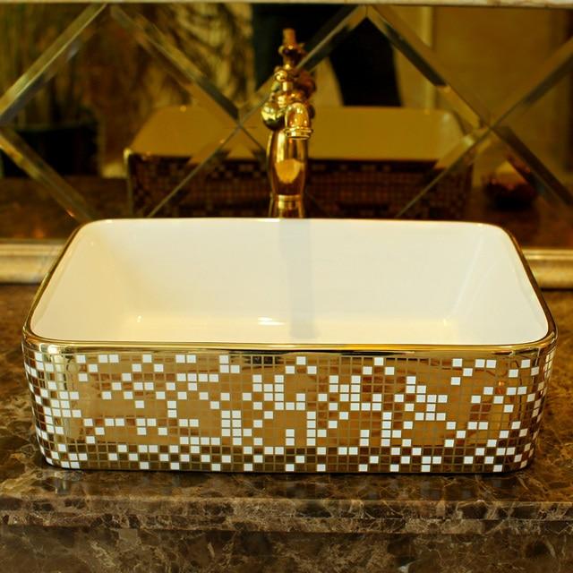 rectangular cloakroom europe vintage style art wash basin ceramic
