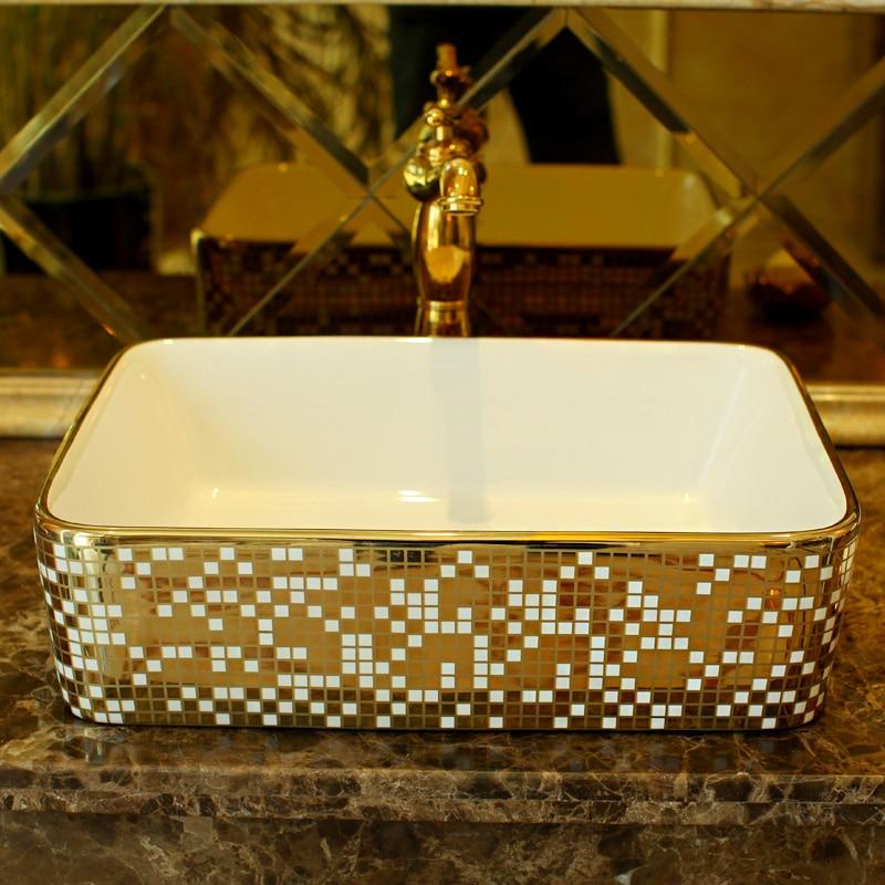 Rectangular Cloakroom Europe Vintage Style Art Wash Basin Ceramic Counter  Top Wash Basin Bathroom Sinks Decorative Bathroom Sink