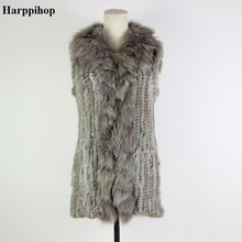 Drop shipping wholesale women Knitted Rabbit Fur Fox Collar