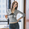 2016 korean fashion lace up bow T-shirts for women short crop top autumn basic t-shirt sexy slim long sleeve tshirt women tops