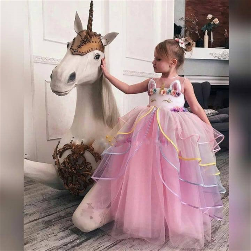 Summer Girl Unicorn Costumes Kids Dresses For Girls Children Princess Birthday Party Dress Unicorn Clothes Teens Girl 8 10 Years