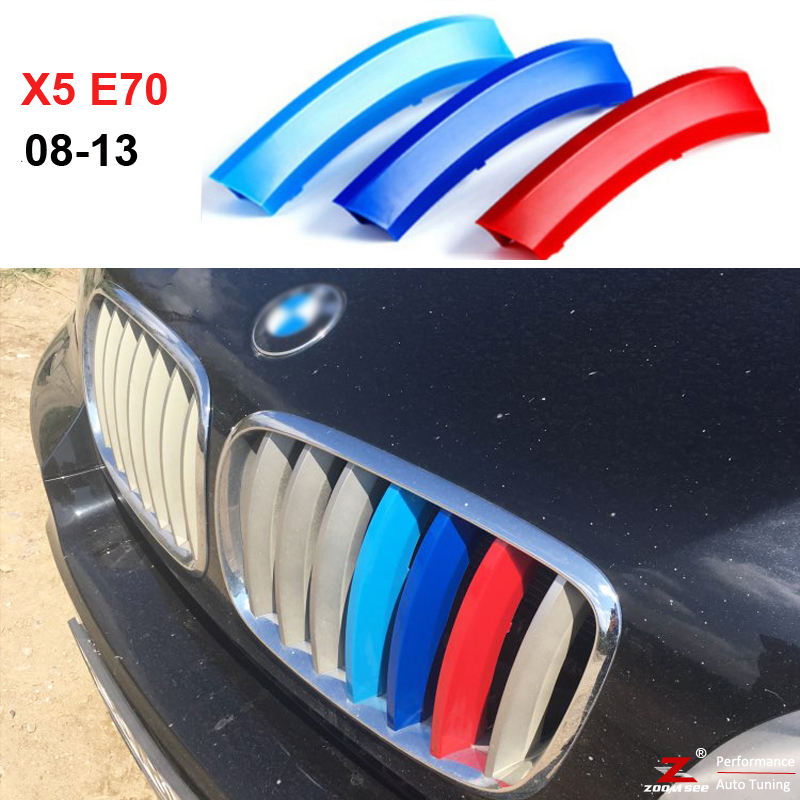 3D M styling Front Grille Trim Strips grill Cover motorsport  Decoration Stickers For 2008 to 2013 BMW X5 E70 stainless steel car racing grills for mazda cx 5 2013 2016 front grill grille cover trim car styling