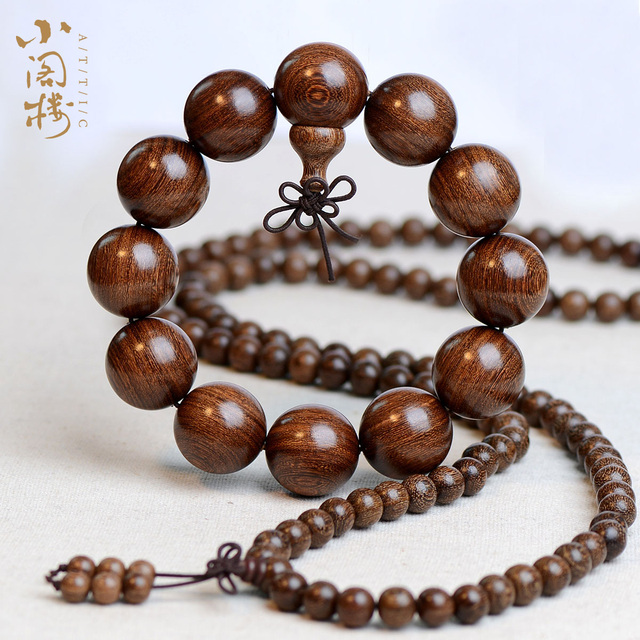 Gold bracelets Silkwood sandalwood incense wood ebony beads 108 male and female couple Bracelet