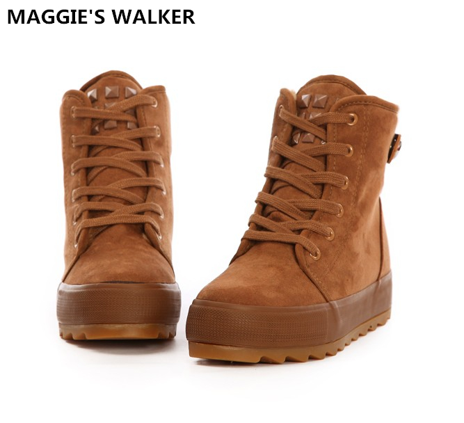 050077cb328b Maggie s Walker Fashion Winter Short Boots Casual Shoes Snow Boots Preppy  Style Women s Ankle Boots Size 35~40
