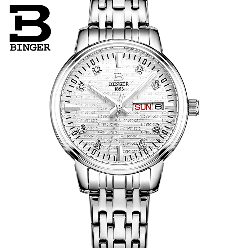 スイス深酒をする人の女性のファッションの高級腕時計超薄型クォーツ glowwatch フルステンレス鋼腕時計 B3036G  グループ上の 腕時計 からの レディース腕時計 の中 2