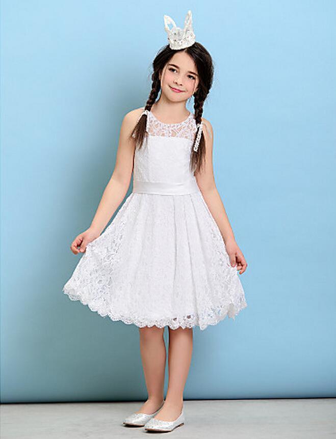 2017 White Lace Flower Dresses Junior Bridesmaid Gown Scoop A