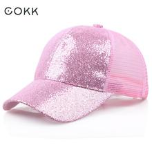 fc5161e2cd51c COKK Summer Sequin Baseball Cap For Women Mesh Hat Net Cap Casquette  Shining Sun Hat Adjustable
