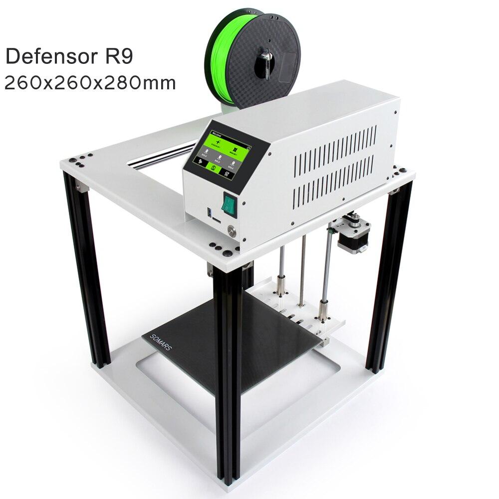Noulei écran tactile Facile 3D Imprimante Defensor R9 grande taille cube Cadre Full Metal Aluminium Impresora 3 D kit de bricolage pour les débutants
