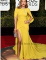 2017 73rd Golden Globe Awards Jennifer Lopez Sexy Side Split Mermaid Red Carpet Celebrity Dress Yellow Pleated Chiffon Vestidos
