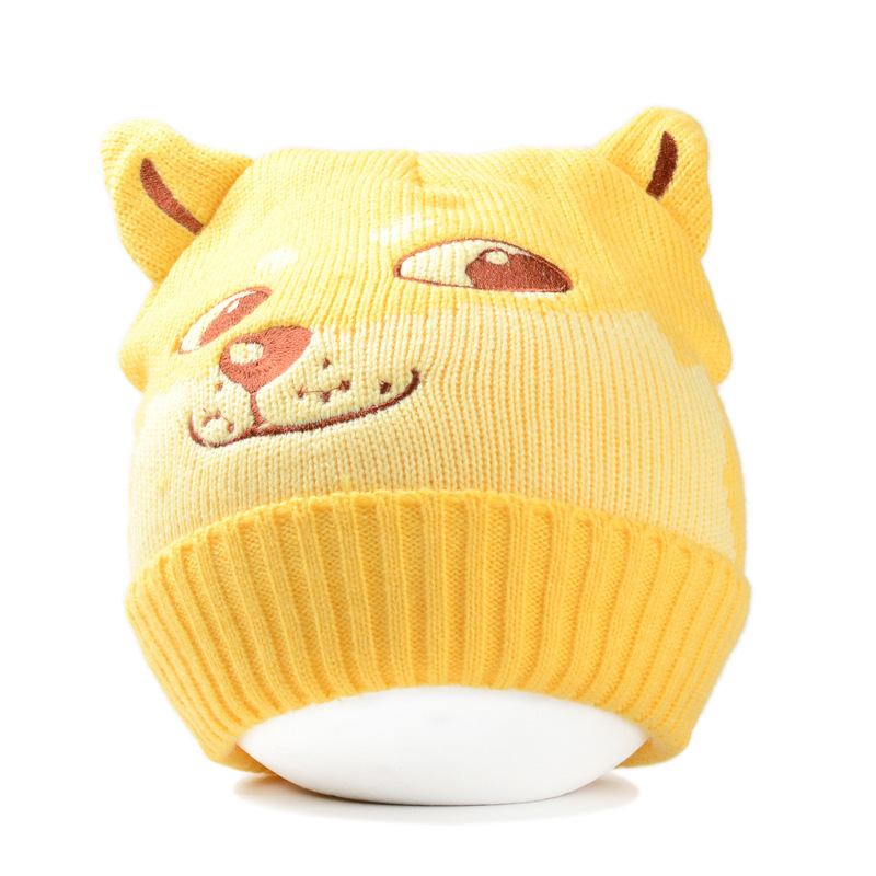 Lovely Animal Doge hat Pullover Knitting Hat Keep Warm Doge Wool Hats Men And Women Unisex Autumn Winter Vent Toy Lovely Gift the new 2016 han edition affixed cloth wave cap hat hat tip to keep warm letter knitting hat qiu dong men and women