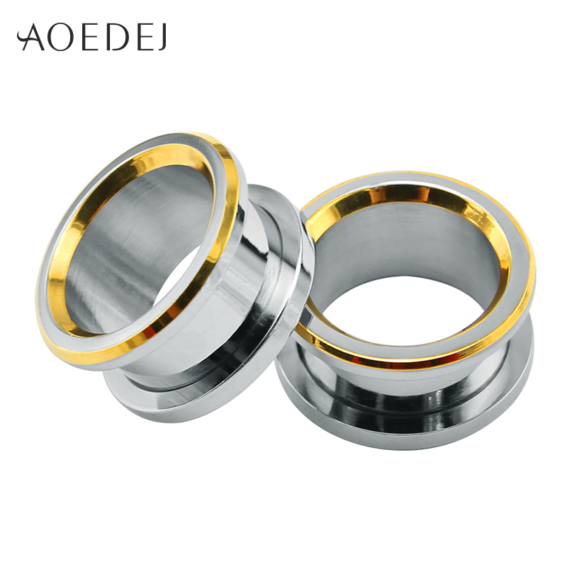 AOEDEJ 6-16mm Ear Plugs Tunnels Emas Stainless Steel Piercing Plug 16mm Logam Oor Expander Piercing Usungan Piercing Ear