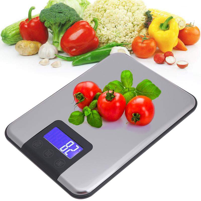 5kg/1g Digital Kitchen Food Scale Stainless Steel LCD Kitchen Cooking Measuring Bench Weight Jewelry Balance Weighing Tool