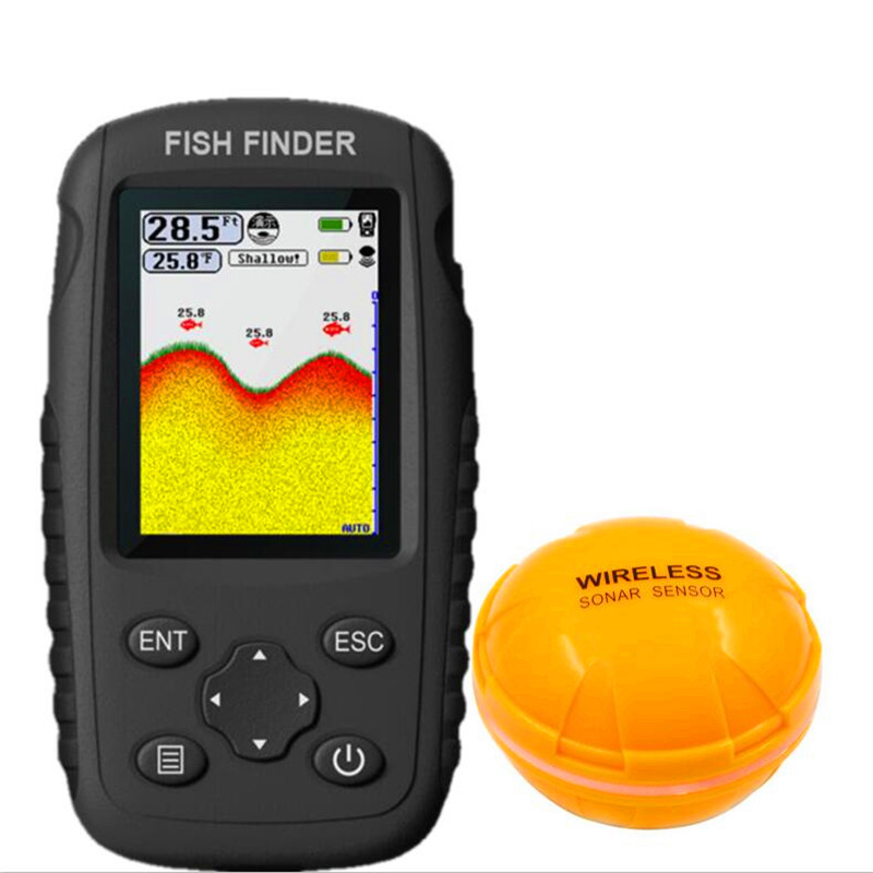 Ffw718 peixe finder atualização ff998 menu russo recarregável waterpoof sem fio fishfinder sensor 125 khz sonar sonar sonar sonoro