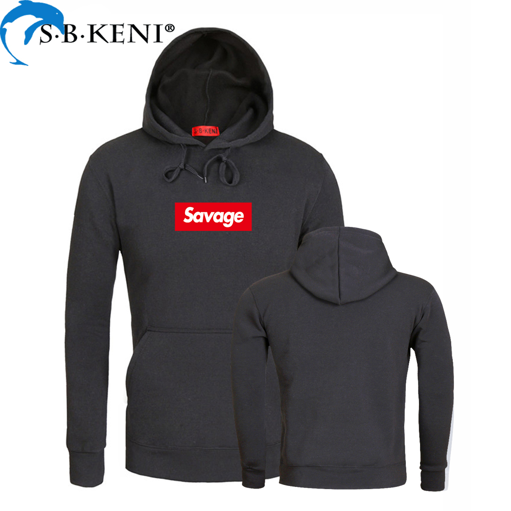 Savage Hoodies Lustige brief Drucken Schwarz Fleece Hoodies 2018 Winter Streetwear Stil Hip Hop Casual langarm Sweatshirts Tops