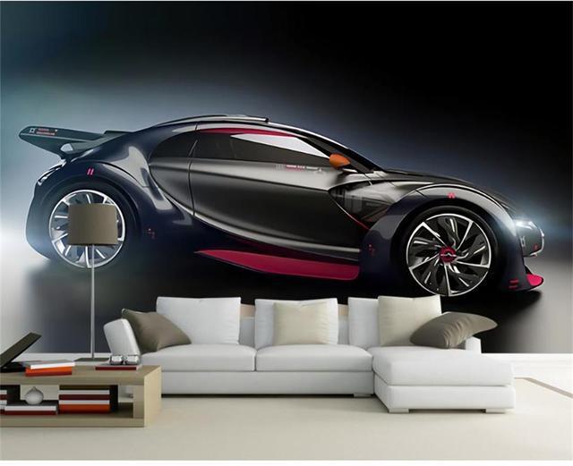 3d Wallpaper Photo Custom Living Room Mural Moving Sports Car Painting Sofa TV Background