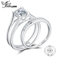 JewelryPalace 1ct Princess Cut Anniversary Wedding Band Solitaire Engagement Ring Bridal Channel Ring Sets 925 Sterling Silver