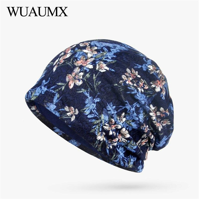 Wuaumx Brand Autumn Winter   Beanies   Hats For Women Lace Hedging Cap Turban Hat Floral   Skullies     Beanies   Hat Female czapka zimowa