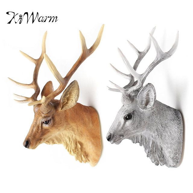 Kiwarm Fashion Large Wall Mounted Stags Head Deer Antlers Walls Plaque Decoration For Home Ornament
