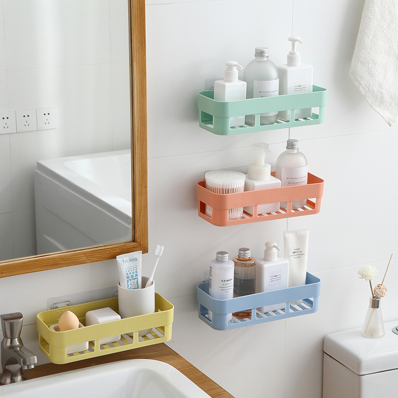 Onme Punch-free Bathroom Shelf Plastic Toilet Bathroom Vanity Wall Hanging Bathroom Storage Rack Basket No Trace Stickers Rack