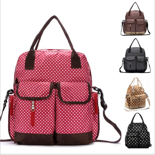 Nova Moda Bolsa da Mamãe Multifuncional Portátil/Ambos Os Ombros/Cross Body Bags Alta Impermeável Oxford Material de Dot Mulheres Mochila