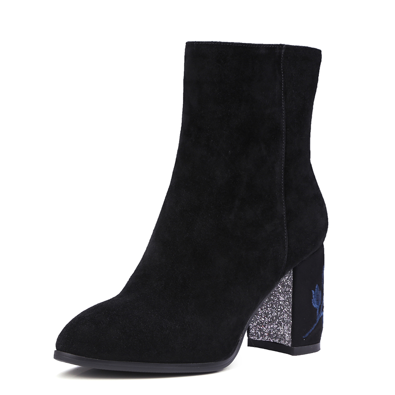 ФОТО Top Quality Genuine Leather Women Boots Embroidery Thick High Heels Fashion Lady's Ankle Boots Nubuck Leather Fall Winter Boots