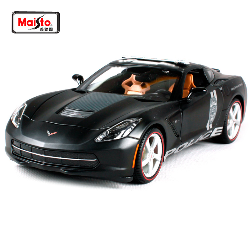 Maisto 1:18 2014 Corvette Stingray POLICE Sports Car Diecast Model Car Toy New In Box Free Shipping 36212 maisto 1 18 mini cooper sun roof diecast model car toy new in box free shipping 31656