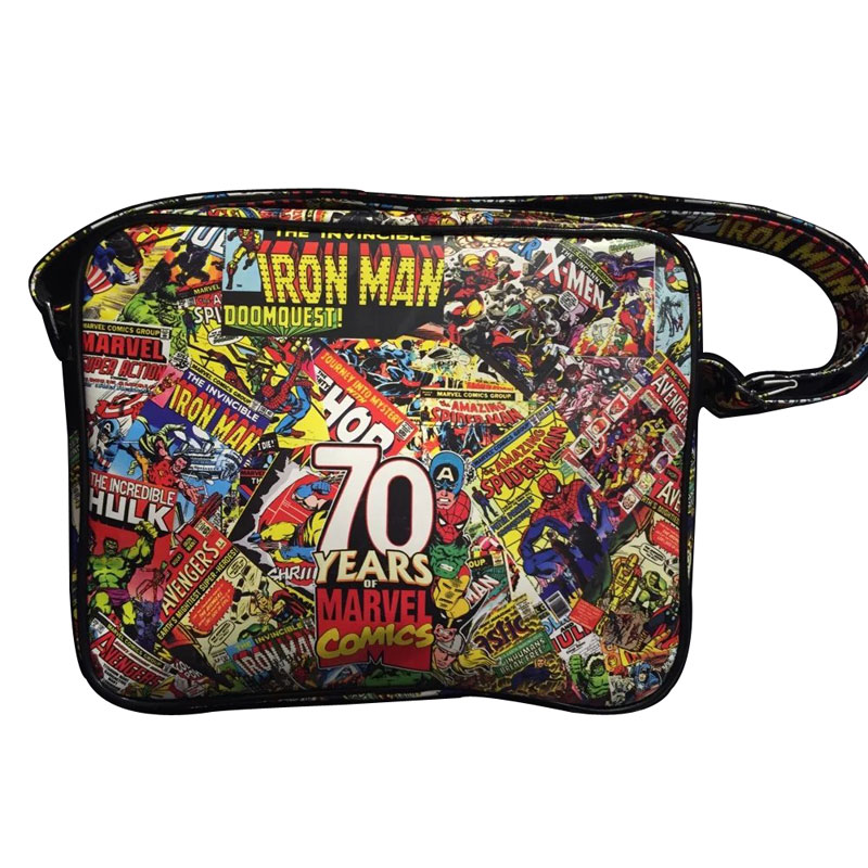 Marvel Comics Print Messenger Bags The Avengers Super Hero Superman Captain America Flash-man Iron-man Spider Batman Leather Bag pair of graceful rhinestone triangle earrings jewelry for women