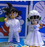 10CM Anime Dragon Ball Z Son Goku And ChiChi Wedding Dolls PVC Figures Toys 2pcs Set