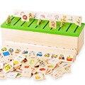 Montessori Educacional Dominó Crianças Criatura Blocos De Brinquedo De Madeira Crianças Early Learning Brinquedos Caixa de Classificação WJ863