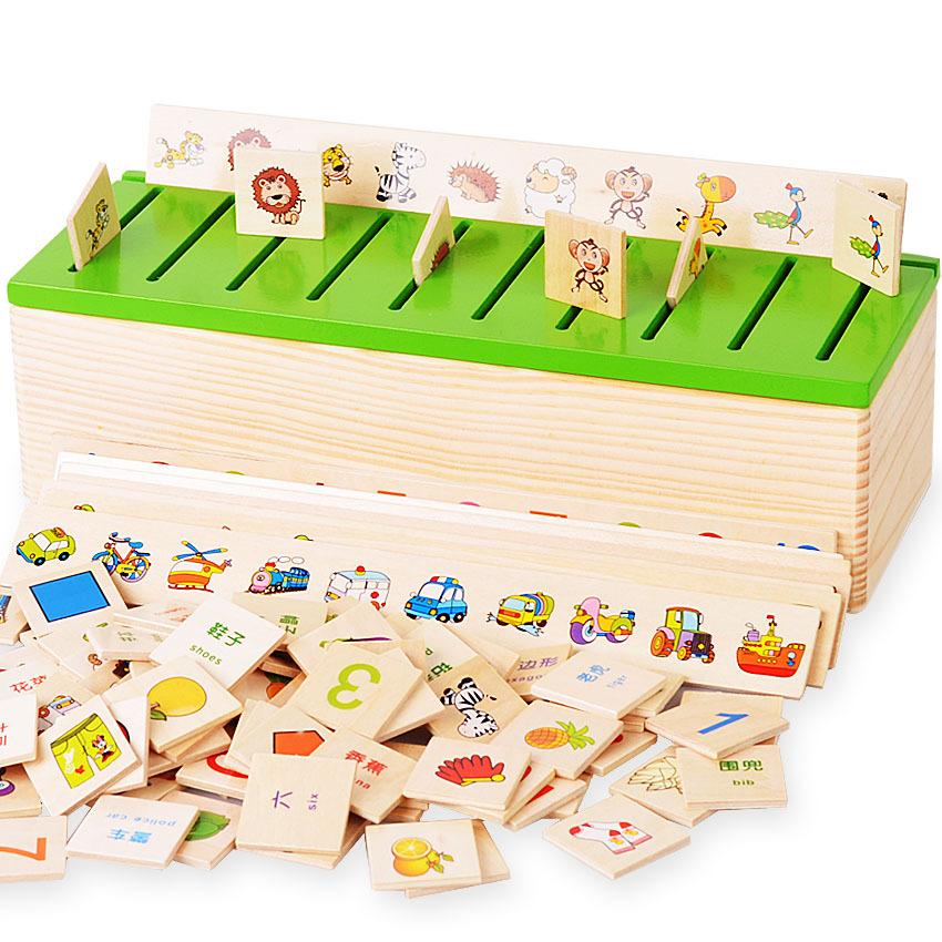 Montessori Educational Dominoes Kids Toy Wooden Creature Blocks Children Early Learning Classification Box Brinquedos WJ863 free ship 1 set of 100pc children kids natural wooden build blocks montessori sensorial early development educational material