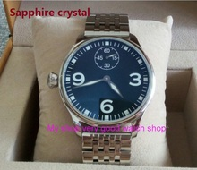 Sapphire crystal 44mm PARNIS Asian ST3621/6498 Mechanical Hand Wind movement Luminous black dial men's watches sdgd09A
