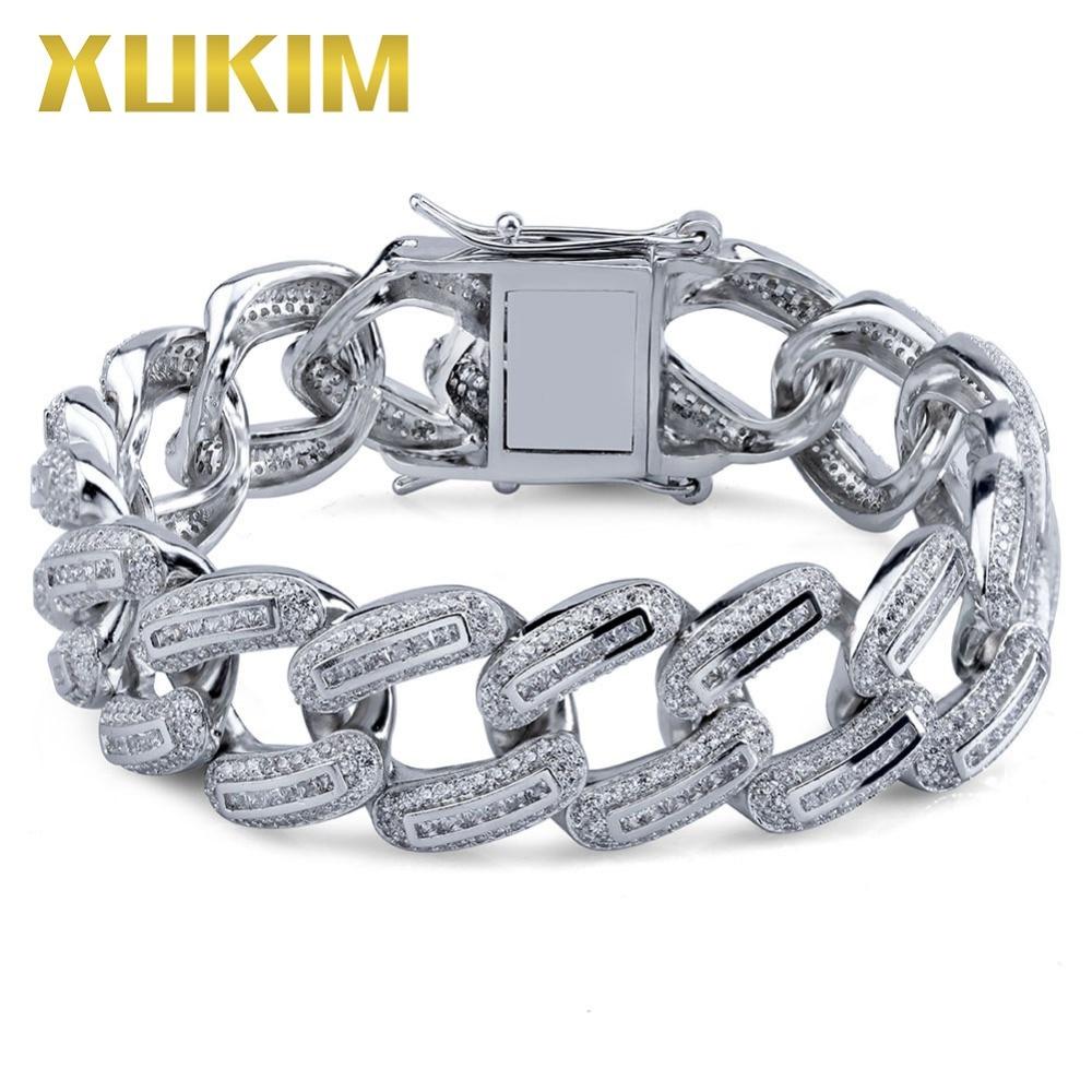 Xukim bijoux Hip Hop plein glacé Micro Pave AAA cubique zircone or couleur lien chaîne hommes Bracelet Bracelet bijoux cadeau fête - 6