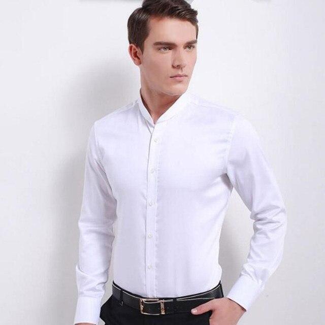 Новый стиль мужчины рубашка мода жених свадебный рубашка пром рубашки высокого качества мандарин воротник белый формальный рубашка с длинным рукавом