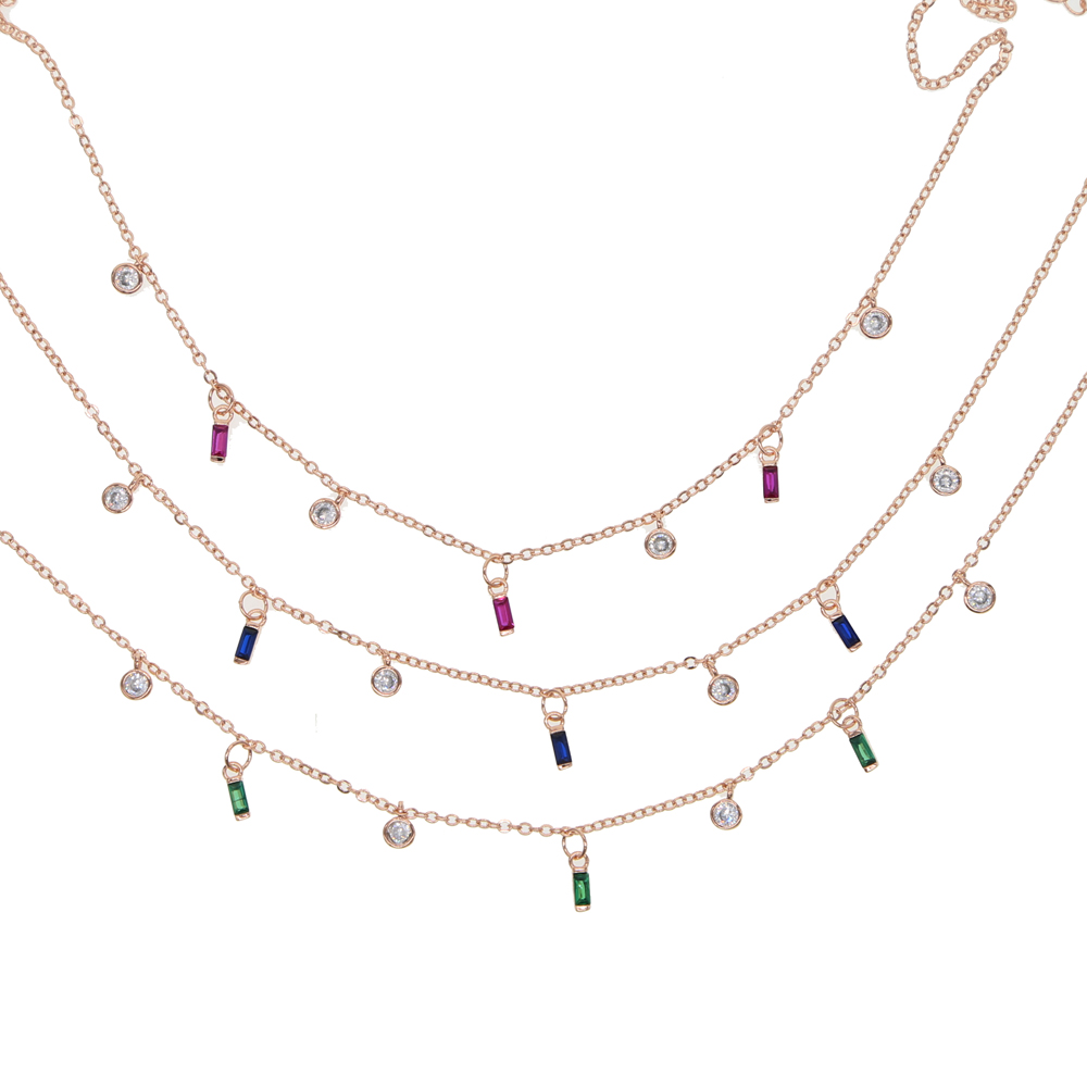red green blue cz charm necklace choker Romantic colorful round baguette cubic zirconia drop charm gift Elegance jewelry