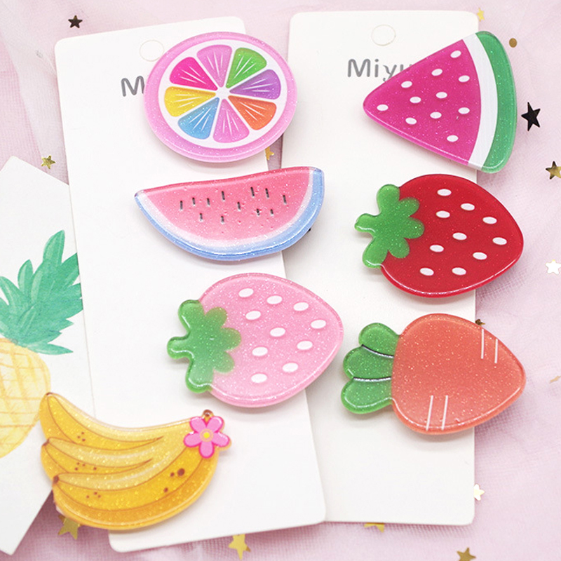 NEW Arrivals 2Pcs/Set Kids Hair Accessories Headwear Set Strawberry Pineapple Fruit Hairpins Cartoon Carrot Hair Clip For Girls