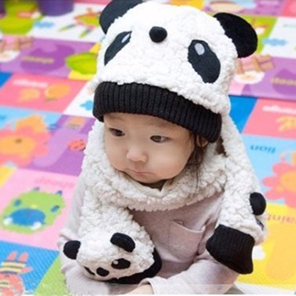 Unisex 1-3Y Baby Girls Boys Winter Hats Neckerchief+Beanie Hat and Scarf Set Cartoon Panda Cap