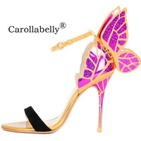 Big Size 2018 Thin High Heels Genuine Leather Women Pumps 10cm,Butterfly Heels Sandals Sexy Wedding Shoes Party yellow Pumps