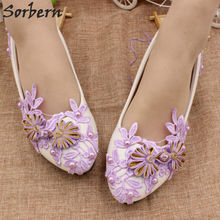 Sorbern Purple Flower Lace Bridal Shoes 3Cm Low Heels Chinese Knot Ladies  Shoes Pumps Bridesmaid Girls bfe5e250ad87